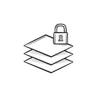 Stos papieru z ikoną doodle wyciągnąć rękę blokady. blokada na górze stosu papieru symbolizującego ilustracji szkic wektor biblioteki online do druku, sieci web, mobile i infografiki na białym tle.