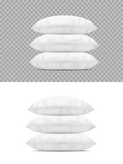 Stos poduszek, białe realistyczne poduszki widok z boku stosu 3d.