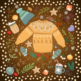 Stos przytulnych swetry z dzianiny i latarnia na stole