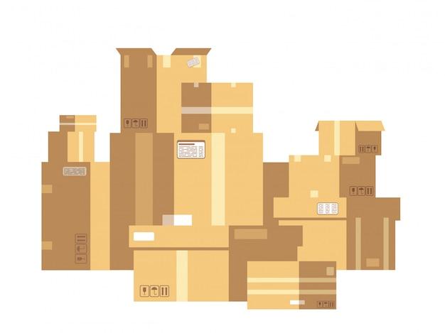 Stos pudełek kartonowych z zapieczętowanymi towarami. stos skrzynki pocztowej na białym tle. koncepcja wektor dostawy i ładunku
