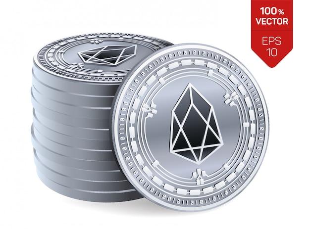 Stos srebrnych monet z symbolem eos na białym tle.