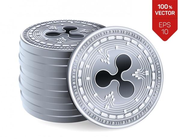 Stos srebrnych monet z symbolem ripple na białym tle.