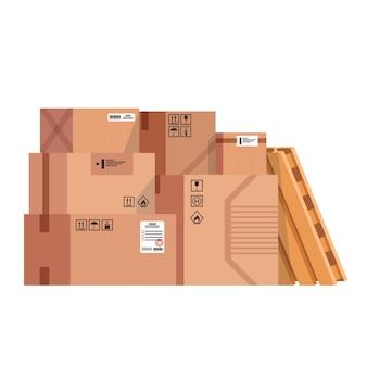 Stos ułożonych w stos kartonów z zapieczętowanymi towarami. płaski ilustracja na białym tle.