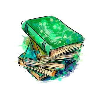 Stos wielu kolorowych książek z odrobiną akwareli, ręcznie rysowane szkic. ilustracja wektorowa farb