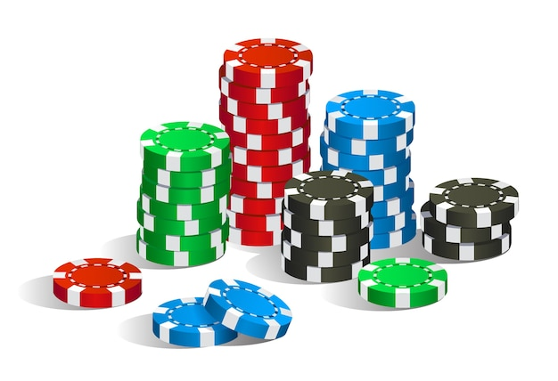 Stos żetonów do pokera w kasynie w kolorze czerwonym, zielonym, niebieskim i czarnym