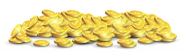 Stos złotych bitcoinów na białym tle na białym tle realistyczne 3d kryptowaluta koncepcja monety poziome transparent