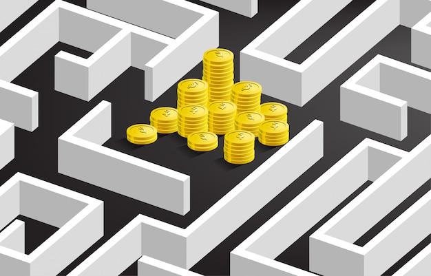 Stos złotych monet dolar waluty w centrum labiryntu. koncepcja misji biznesowej i sposób na zysk firmy