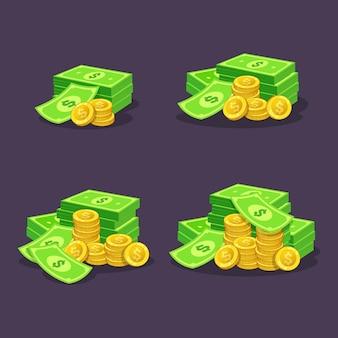 Stos złotych monet gotówki ilustracja