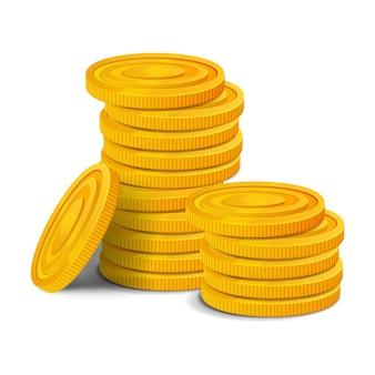 Stos złotych monet. kolorowe błyszczące pieniądze realistyczne aktywa gry