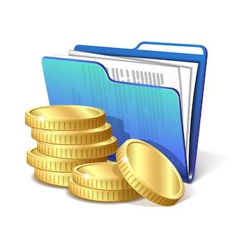 Stos złotych monet obok niebieskiego folderu z dokumentami, symbol udanego projektu biznesowego, ilustracji