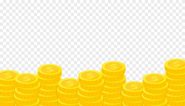 Stos złotych monet. oszczędzanie, darowizny, inwestowanie, płacenie.
