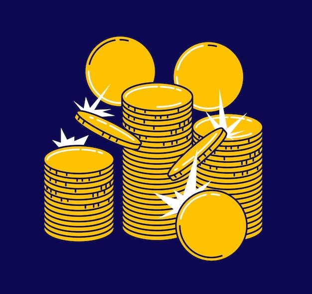 Stos złotych monet samodzielnie na niebiesko