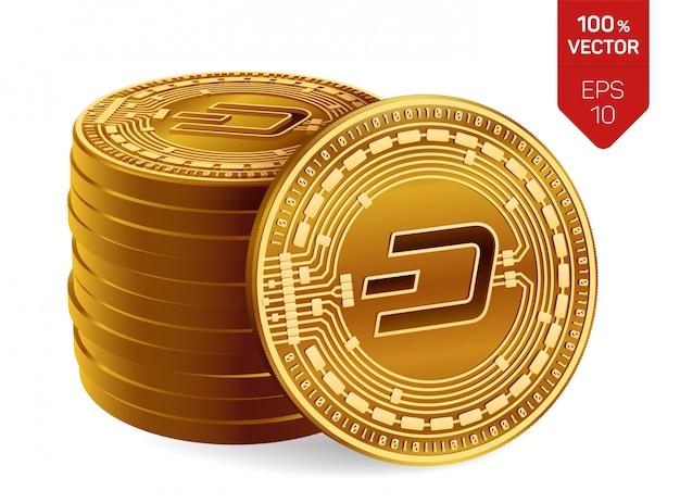 Stos złotych monet z dash symbol na białym tle.