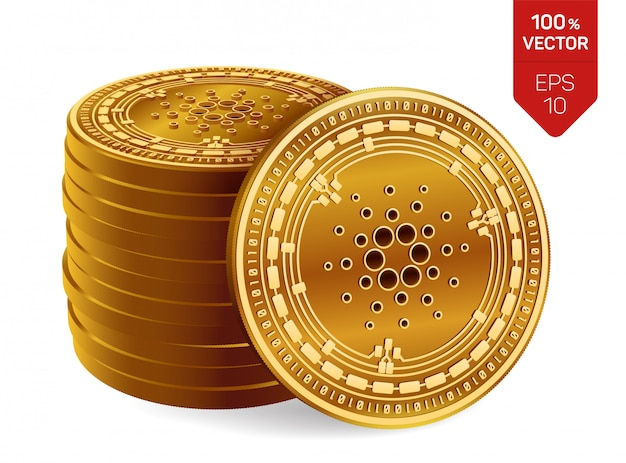 Stos złotych monet z symbolem cardano na białym tle.