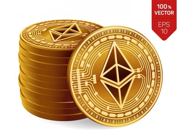Stos złotych monet z symbolem ethereum na białym tle.