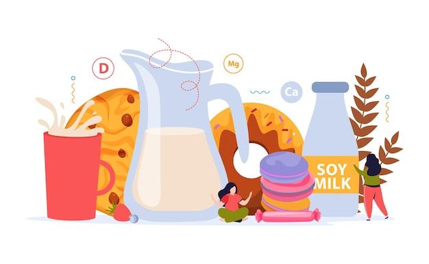 Stosowanie Mleka Z Produktami Piekarniczymi Darmowych Wektorów