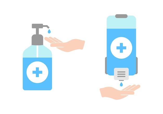 Stosowanie środków dezynfekujących do rąk do dezynfekcji. ilustracja wektorowa eps 10
