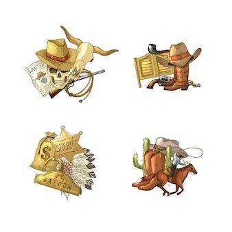 Stosy elementów kowbojskich dziki zachód zestaw na białym tle