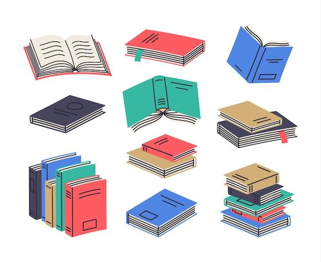 Stosy książek i stosy czytania podręczników edukacyjnych kreskówka wektor zestaw symboli