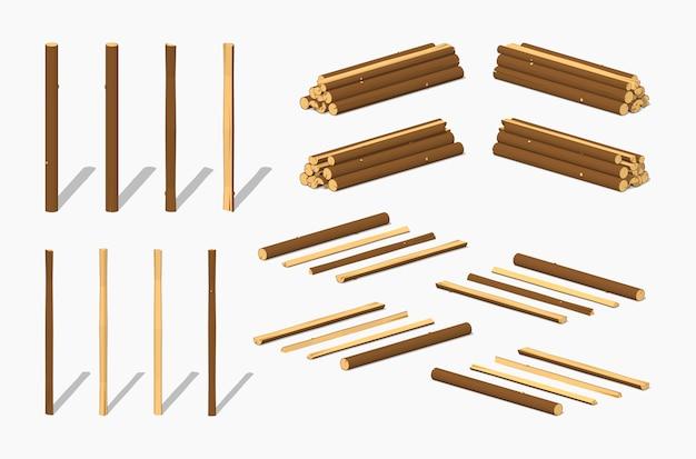 Stosy logów izometrycznych 3d lowpoly