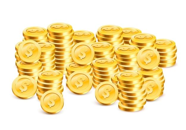 Stosy monet na białym tle. ilustracja wektorowa