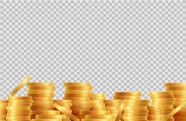 Stosy monet wektor. partia złotych monet na przezroczystym tle