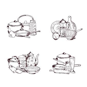 Stosy ręcznie rysowane przybory kuchenne zestaw. ilustracja rysunek naczynie kuchenne