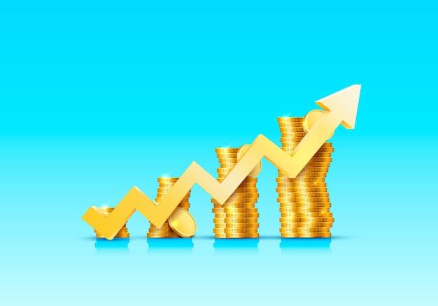 Stosy rosnących złotych monet ze strzałkami na niebieskiej powierzchni