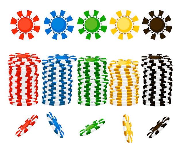 Stosy żetonów w kasynie. . ilustracja na białym tle. strona internetowa i aplikacja mobilna.