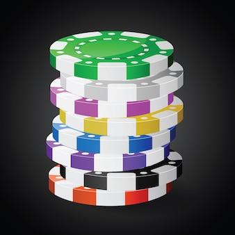 Stosy żetonów w kasynie. zastosowana przezroczystość