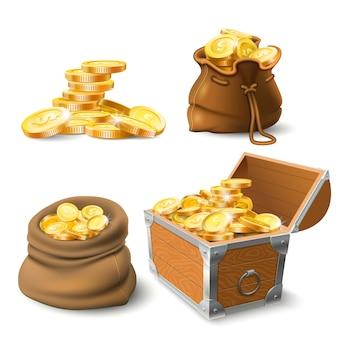 Stosy złotych monet. moneta w starym worku, duży złoty stos i skrzynia