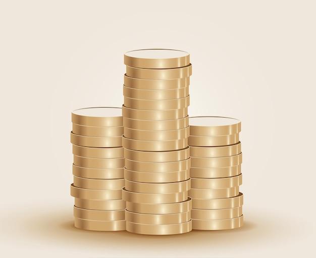 Stosy złotych monet na jasnym tle