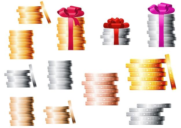 Stosy złotych, srebrnych i brązowych monet, kilka stosów zawiązanych czerwonymi wstążkami z bujnymi kokardkami na górze