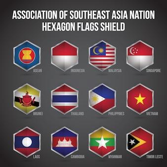 Stowarzyszenie tarcza hexagon flags narodów azji południowo-wschodniej
