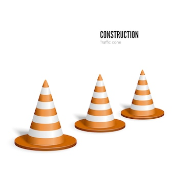 Stożek drogowy. koncepcja budowy. ilustracja na białym tle