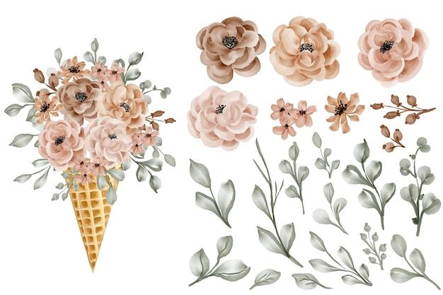 Stożek kwiatowy z różą i liśćmi na białym tle clipart