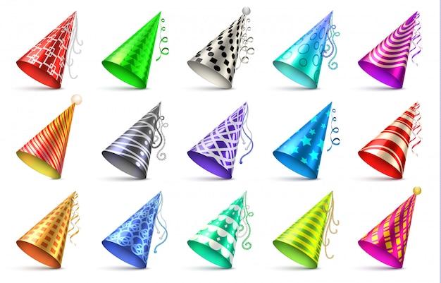 Stożkowy kapelusz papierowy z elementami dekoracji urodzinowej. party czapki na białym tle wektor zestaw