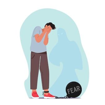 Strach, koncepcja zaburzeń psychicznych. męska postać płacze z ciężkim bobem i łańcuchem na nodze przestraszony duchowym cieniem, atakiem paniki, chorobą, przestraszonym mężczyzną. ilustracja kreskówka wektor