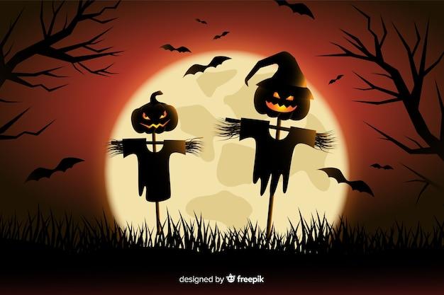 Strach na wróble halloween tło w płaskim projekcie