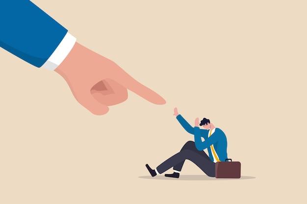 Strach przed porażką, przegrany boi się błędu biznesowego, niepokój lub zestresowany presją w pracy, przestraszony lub wyzwany koncept, przygnębiony panika biznesmen strach przed gigantycznym palcem wskazującym obwinia go za błąd.