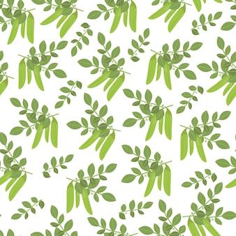 Strąki wzór zielonego groszku. letni nadruk na tekstylia, obrusy kuchenne, serwetki, zasłony, pościel, opakowania i reklama grochu, baner na targi. ilustracja wektorowa, płaskie