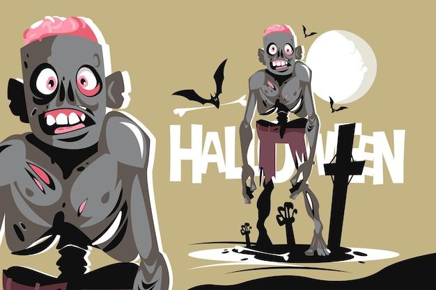 Straszna chodząca postać zombie