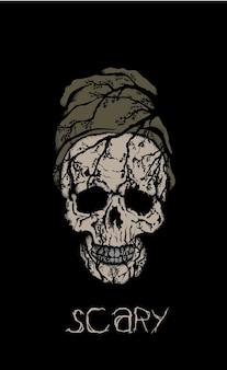 Straszna czaszka w kapeluszu na czarnym tle.