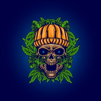 Straszna czaszka z ilustracją liści konopi