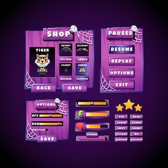 Straszna fioletowa gra halloweenowa wyskakująca tablica ui zestaw kolekcji interfejsów