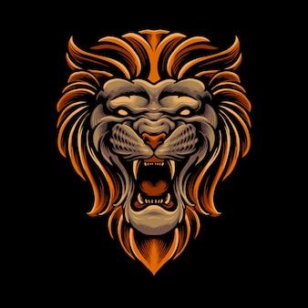 Straszna głowa lwa na czarnym tle