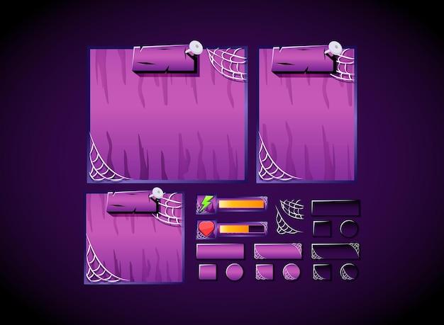 Straszna gra halloweenowa zestaw kolekcji zestawu ui zestaw szablonów wyskakujący pasek i interfejs przycisków