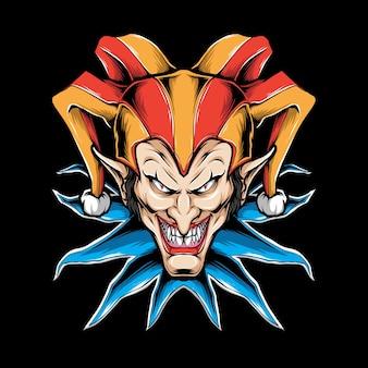 Straszna ilustracja głowy klauna