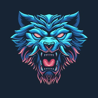 Straszna ilustracja głowy wilkołaka