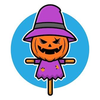 Straszna ilustracja halloweenowego stracha na wróble